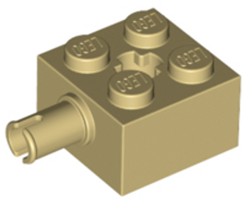 Brick, Modified 2x2 with Pin and Axle Hole (Tan)