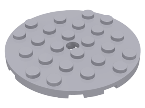 Plate, Round 6x6 with Hole (Light Bluish Gray)