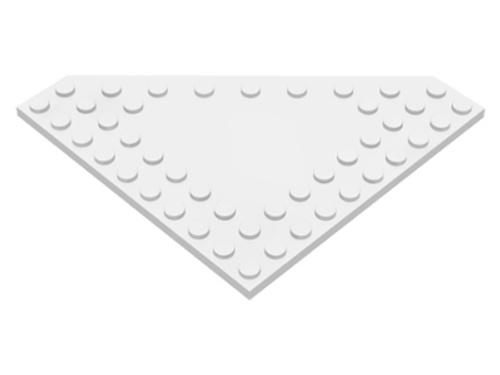 Wedge, Plate 10x10 Cut Corner with no Studs in Centre (White)