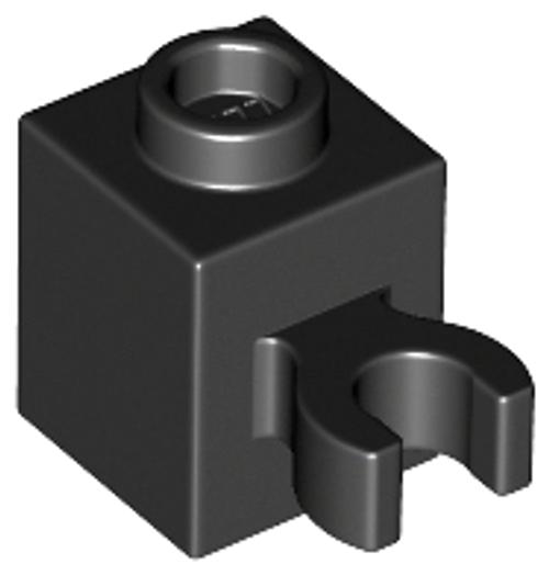 Brick, Modified 1x1 with Open O Clip (Vertical Grip) - Hollow Stud (Black)