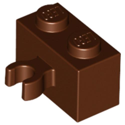 Brick, Modified 1x2 with Vertical Clip (thick open O clip) (Reddish Brown)