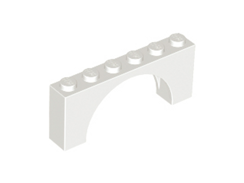 Brick, Arch 1x6x2 - Medium Thick Top (White)