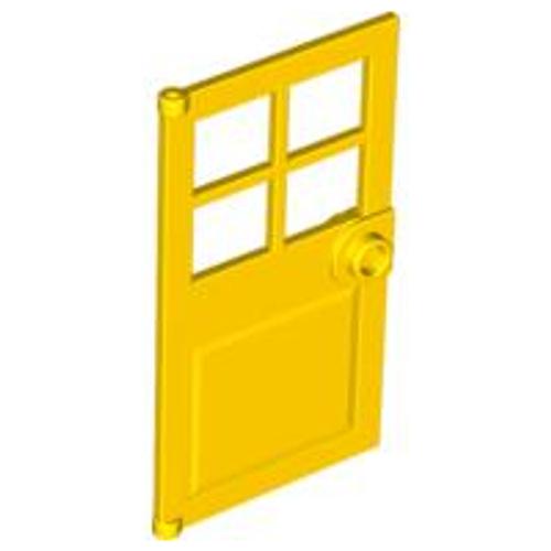 Door 1x4x6 with 4 Panes and Stud Handle (Yellow)