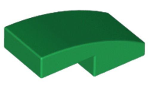 Slope, Curved 2x1 No Studs (Green)