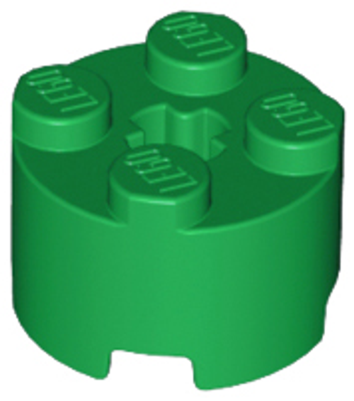 Brick, Round 2x2 with Axle Hole (Green)