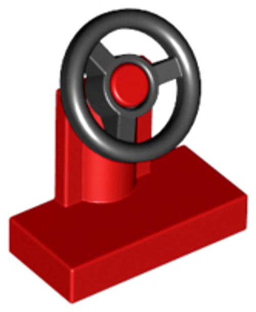 Vehicle, Steering Stand 1x2 with Black Steering Wheel (Red)