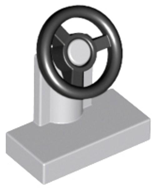 Vehicle, Steering Stand 1x2 with Black Steering Wheel (Light Bluish Gray)