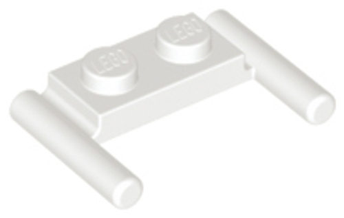 Plate, Modified 1x2 with Handles - Flat Ends, Low Attachment (White)