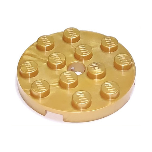 Plate, Round 4x4 with Hole (Pearl Gold)