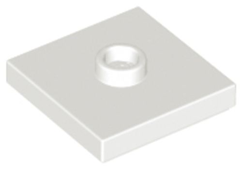 Plate Tile, Modified 2x2 with Groove and 1 Stud in Centre (Jumper) (White)