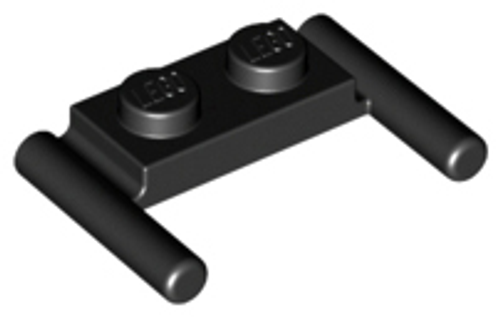 Plate, Modified 1x2 with Handles - Flat Ends, Low Attachment (Black)