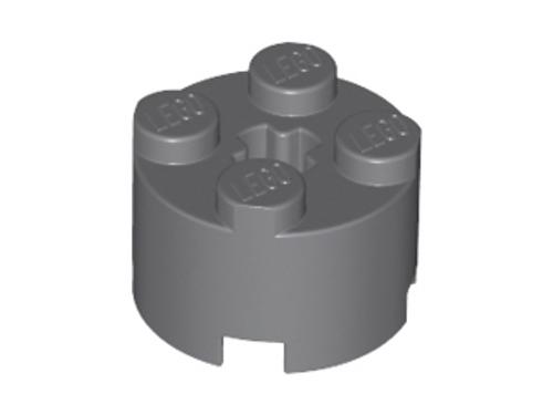 Brick, Round 2x2 with Axle Hole (Dark Bluish Gray)
