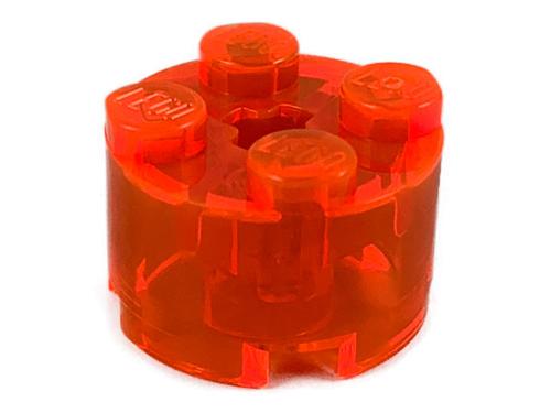Brick, Round 2x2 with Axle Hole (Trans Neon Orange)