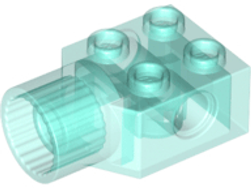 Technic, Brick Modified 2x2 with Pin Hole, Rotation Joint Socket (Trans-Light Blue)