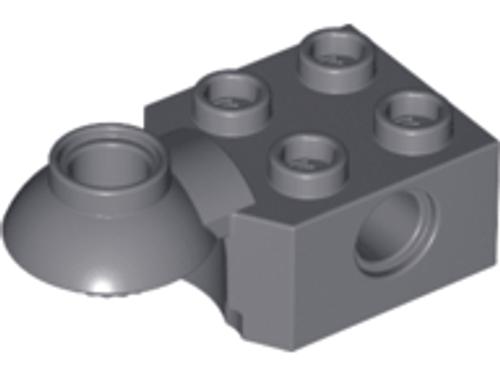 Technic, Brick Modified 2x2 with Pin Hole, Rotation Joint Ball Half (Horizontal Top) (Dark Bluish Gray)