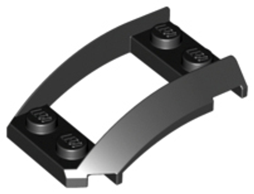 Wedge 4x3 Open with Cutout and 4 Studs (Black)