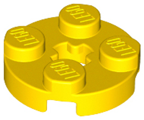 Plate, Round 2x2 with Axle Hole (Yellow)