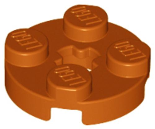 Plate, Round 2x2 with Axle Hole (Dark Orange)