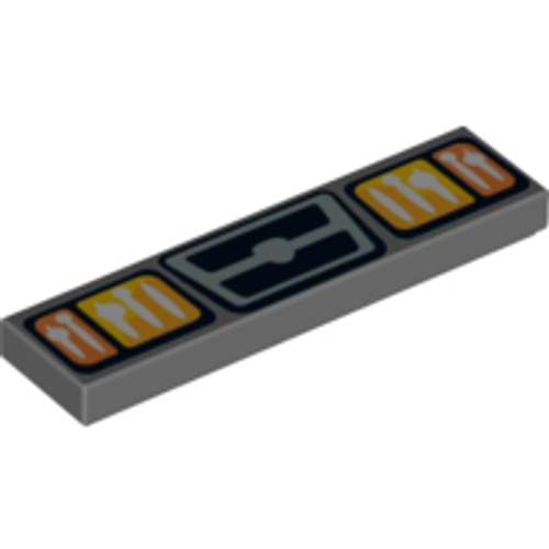 Tile 1x4 with Headlights and Grill Pattern (Dark Bluish Gray)