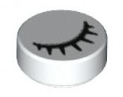 Tile, Round 1 x 1 with Black Eye Closed with 7 Eyelashes Pattern (White)