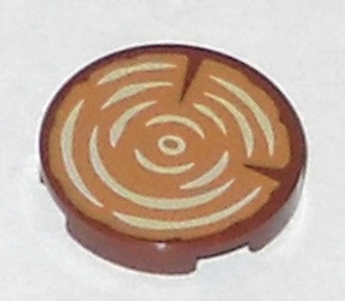 Tile, Round 2x2 with Bottom Stud Holder with Tree Stump (Reddish Brown)