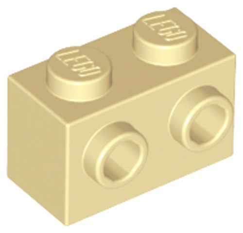 Brick, Modified 1x2 with Studs on 1 Side (Tan)