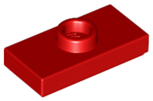 Plate, Modified 1x2 with 1 Stud with Groove and Bottom Stud Holder (Red)