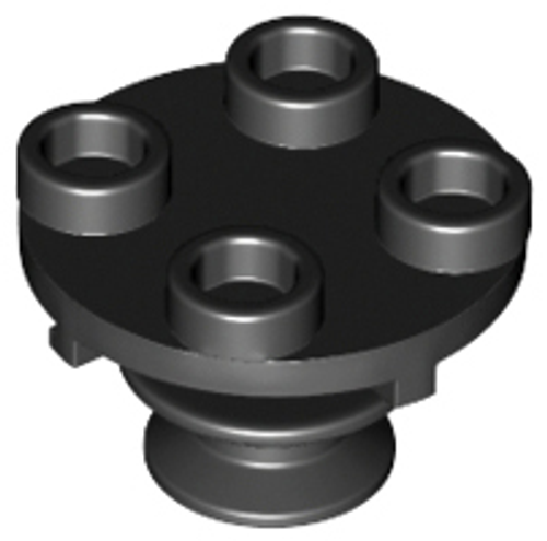 Plate, Round 2x2 Thin with Rotation Stem (Black)