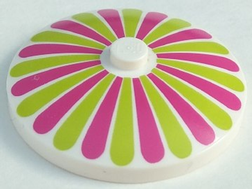 Dish 4x4 Inverted (Radar) with Solid Stud with Stripes Lime/Magenta Petals Pattern (White)