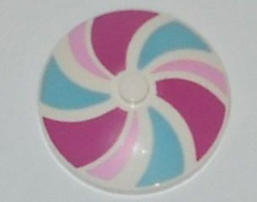 Dish 4x4 Inverted (Radar) with Solid Stud with Stripes Bright Pink/Magenta/Medium Azure Pattern (White)