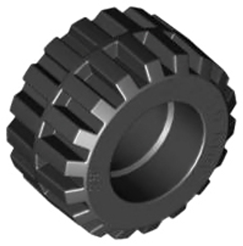 Tyre 21mm D. x 12mm - Offset Tread Small Wide, Band Around Centre of Tread (Black)