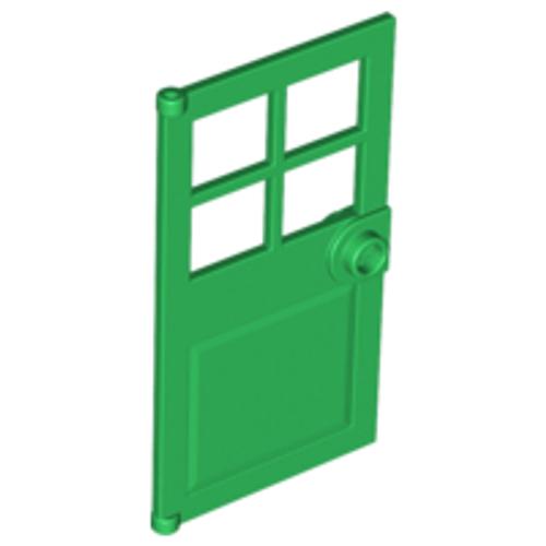 Door 1x4x6 with 4 Panes and Stud Handle (Green)