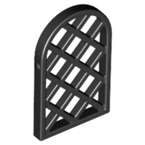 Window 1x2x2 2/3 Pane Lattice Diamond with Rounded Top (Black)