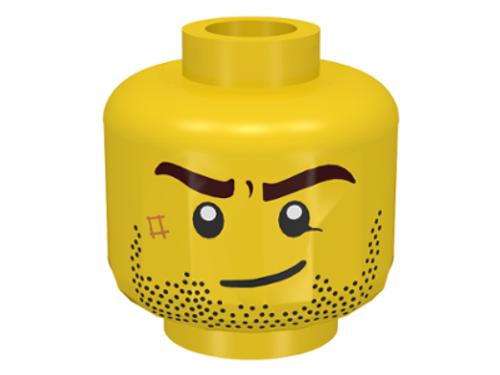Minifigure, Head Beard Stubble, Brown Eyebrows, Crooked Smile (3626cpb0495)
