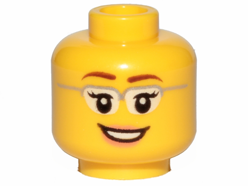 Minifigure, Head Female Glasses with Silver Frames (3626cpb1210)