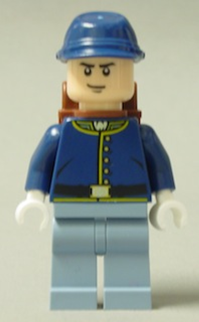 Cavalry Soldier - Backpack, Black Eyebrows, Crooked Smile, Male Minifigure (tlr019)