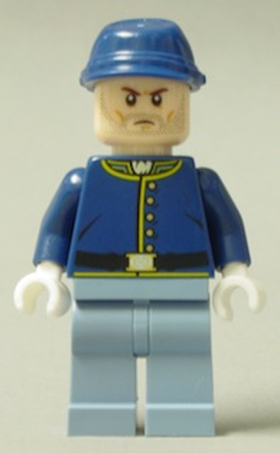 Cavalry Soldier - Brown Eyebrows, Stubble, Male Minifigure (tlr020)