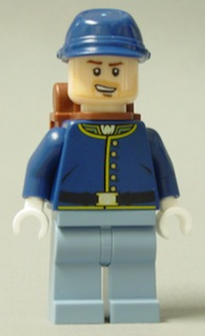 Cavalry Soldier - Backpack, Brown Eyebrows, Crooked Open Smile, Beard, Male Minifigure (tlr021)