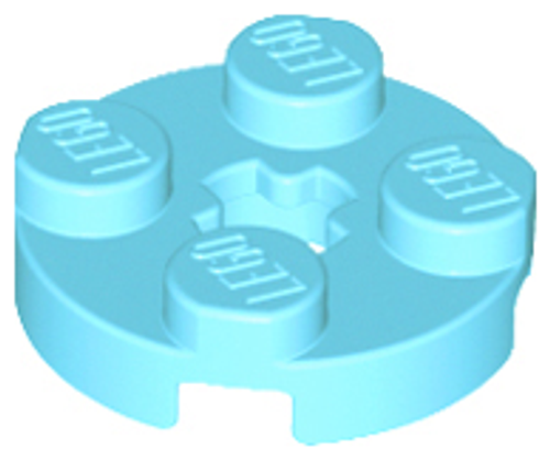 Plate, Round 2x2 with Axle Hole (Medium Azure)