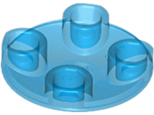 Plate, Round 2x2 with Rounded Bottom (Boat Stud) - (Trans Dark Blue)