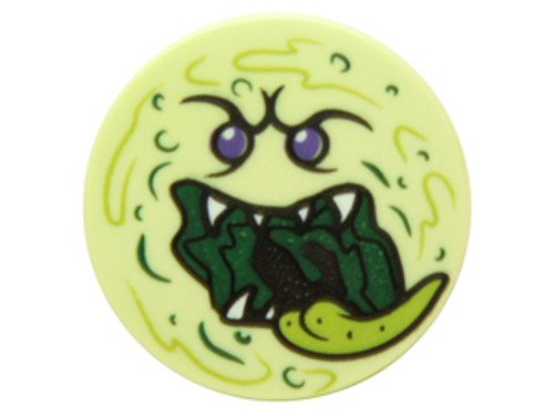 Tile, Round 2x2 with Bottom Stud Holder with Ghost Face Pattern (Yellowish Green)