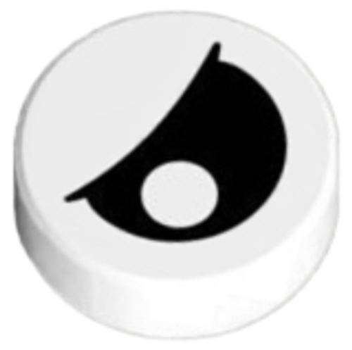 Tile, Round 1x1 with Black Eye with Pupil Partially Closed Pattern (White)