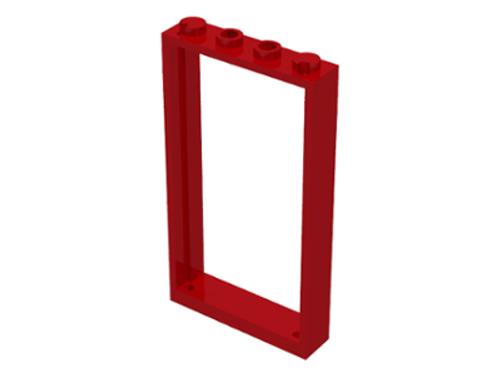 Door Frame 1x4x6 with Two Holes on Top and Bottom (Red)
