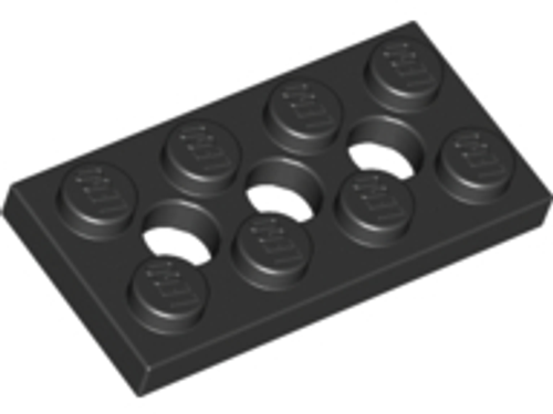 Technic, Plate 2x4 with 3 Holes (Black)