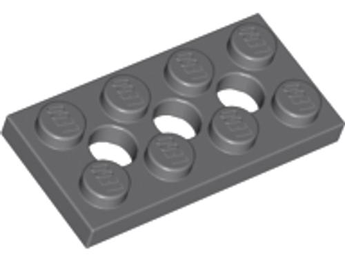 Technic, Plate 2x4 with 3 Holes (Dark Bluish Gray)