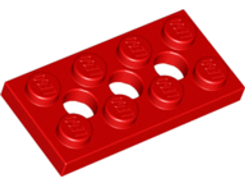 Technic, Plate 2x4 with 3 Holes (Red)