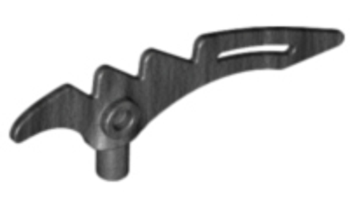 Minifigure, Weapon Crescent Blade, Serrated with Bar (Pearl Dark Gray)
