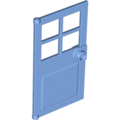 Door 1x4x6 with 4 Panes and Stud Handle (Medium Blue)