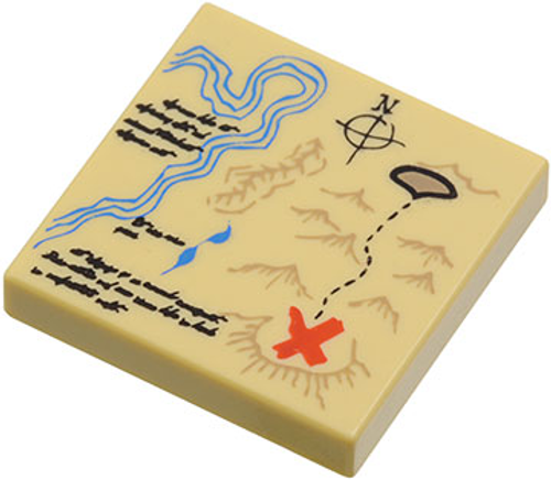Tile 2x2 with Groove with Map River, Dark Tan Mountains, Handwriting (Tan)