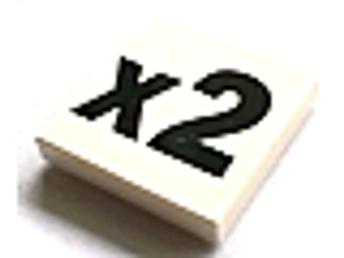 Tile 2x2 with Groove with Black 'x2' Pattern (White)